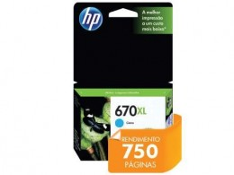 Cartucho de Tinta HP 670XL Ciano Ink Advantage CZ118AB 7,5ml