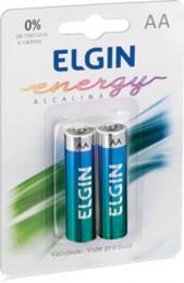 Pilha Alcalina AA Elgin 82152 com 2 pilhas