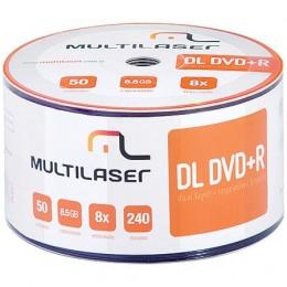 Midia DVD-R Dual Layer Multilaser DV047 8.5gb Printable Embalagem com 50 Unidades