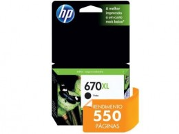 Cartucho de Tinta HP 670XL Preto Ink Advantage CZ117AB 14ml
