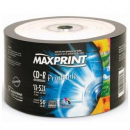 Midia CD-R Printable Maxprint Tubo com 50 Unidades Cd Imprimivel Branco
