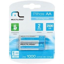 Pilha Recarregavel AA Multilaser CB053 2500MAH Blister com 2 Unidades